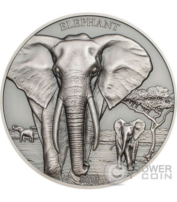 ELEPHANT High Relief Animals 1 Oz Moneda Plata 1000 Shillings Tanzania 2016