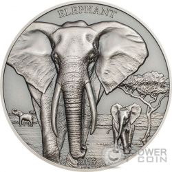 ELEPHANT Elefante High Relief Animals 1 Oz Moneta Argento 1000 Shillings Tanzania 2016