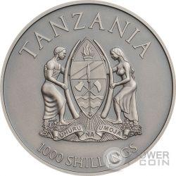 ELEPHANT High Relief Animals 1 Oz Moneda Plata 1000 Shillings Tanzania 2016