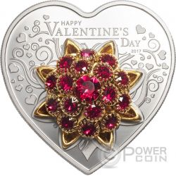 HAPPY VALENTINE DAY 3D Swarovski Bouquet Heart Shaped Silver Coin 5$ Cook Islands 2017