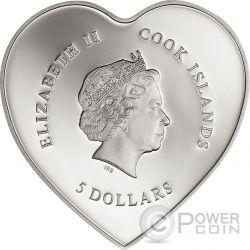 HAPPY VALENTINE DAY 3D Swarovski Bouquet Heart Shaped Silber Münze 5$ Cook Islands 2017
