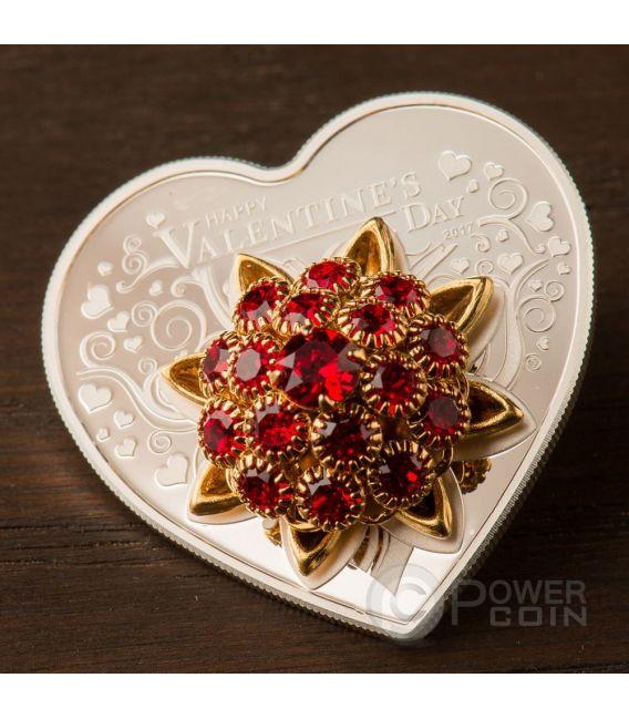 HAPPY VALENTINE DAY 3D Swarovski Bouquet Heart Shaped Moneda Plata 5$ Cook Islands 2017