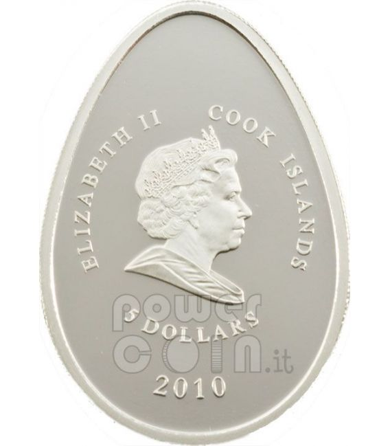 UOVA IMPERIALI VERDE Cloisonne Faberge Moneta Argento 5$ Cook Islands 2010