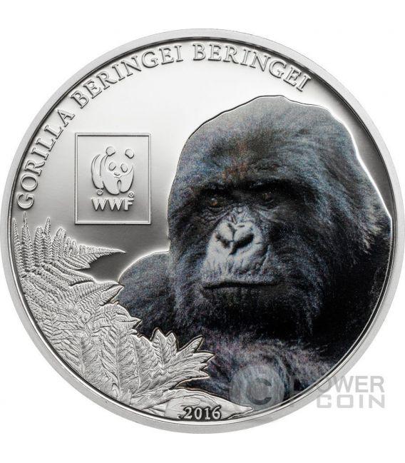 MOUNTAIN GORILLA Beringei WWF World Wildlife Fund Moneta 100 Shillings Tanzania 2016