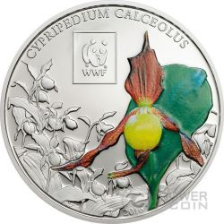 LADY SLIPPER ORCHID Cypripedium WWF World Wildlife Fund Moneta 100 Shillings Tanzania 2016
