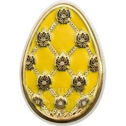 IMPERIAL EGGS YELLOW Cloisonne Faberge Moneda Plata 5$ Cook Islands 2010