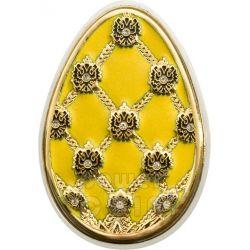 UOVA IMPERIALI GIALLA Cloisonne Faberge Moneta Argento 5$ Cook Islands 2010