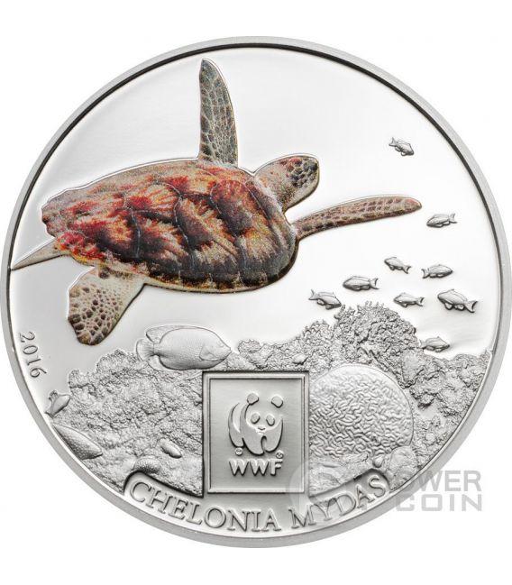 GREEN SEA TURTLE WWF World Wildlife Fund Münze 100 Shillings Tanzania 2016