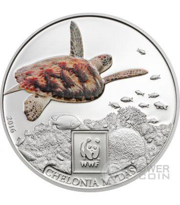 GREEN SEA TURTLE Tartaruga Verde WWF World Wildlife Fund Moneta 100 Shillings Tanzania 2016