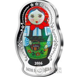 MATRYOSHKA DOLL Matrioska Russian Tradizione 1 Oz Moneta Argento 5$ Isole Salomone 2016