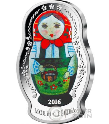 MATRYOSHKA DOLL Matrioska Russian Tradizione 1 Oz Moneta Argento 5$ Solomon Islands 2016