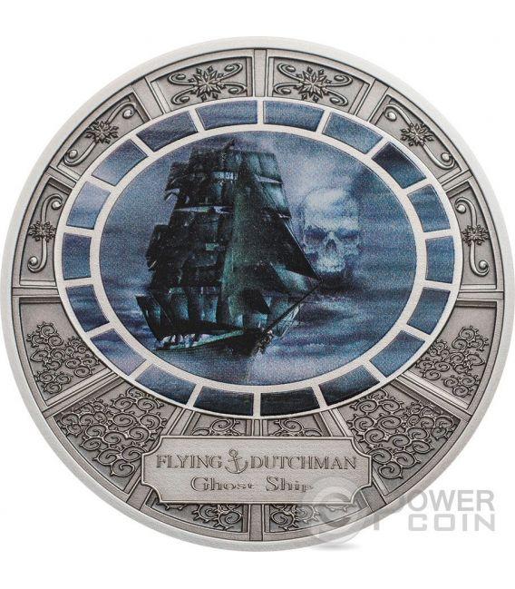 FLYING DUTCHMAN Ghost Ship Moneda Plata 5$ Cook Islands 2016