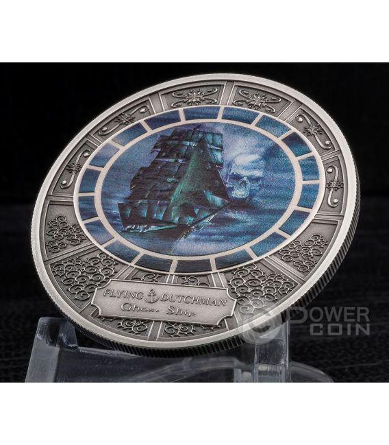 FLYING DUTCHMAN Ghost Ship Nave Fantasma Moneta Argento 5$ Cook Islands 2016