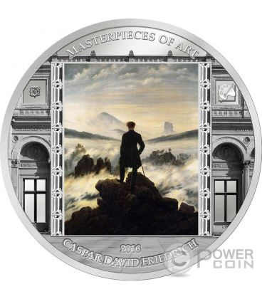 VIANDANTE SUL MARE DI NEBBIA Caspar David Friedrich Masterpieces of Art 3 Oz Moneta Argento 20$ Cook Islands 2016