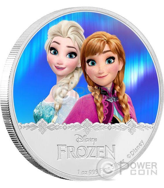 ELSA AND ANNA Disney Frozen Magic of the Northern Lights 1 Oz Moneta Argento 2$ Niue 2016