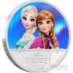 ELSA AND ANNA Disney Frozen Magic of the Northern Lights 1 Oz Moneta Argento 2$ Niue 2016