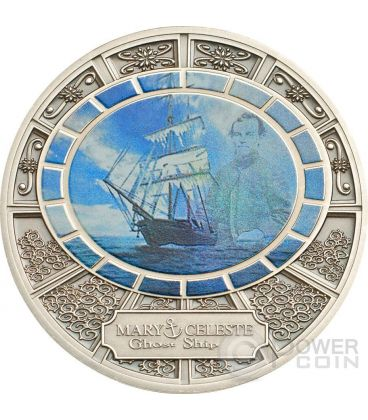 MARY CELESTE Ghost Ship Nave Fantasma Moneta Argento 1$ Niue 2013