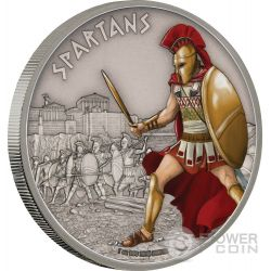 SPARTANS Warriors of History Spartani Guerrieri della Storia 1 Oz Moneta Argento 2$ Niue 2016