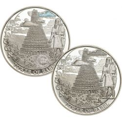 TOWER OF BABEL Biblical Stories Cloud Edition Set 2 Silver Coins 2$ Palau 2016