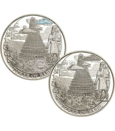 TOWER OF BABEL Torre Di Babele Biblical Stories Set 2 Monete Argento 2$ Palau 2016