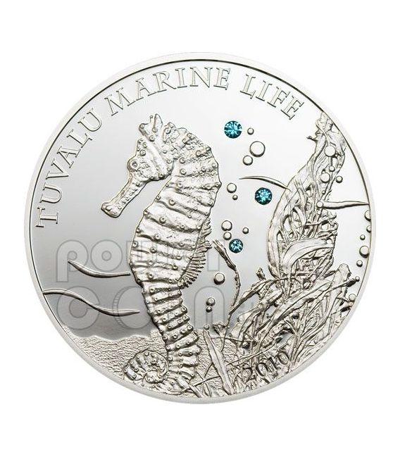 SEAHORSE Marine Sea Life Moneda Plata Swarovski 1$ Tuvalu 2010