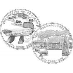 GOCHANG HWASUN AND GANGHWA DOLMEN SITES ROYAL TOMBS Korean Cultural Heritage Set 2 Серебро Монеты 50000 Вон Южная Корея 2016