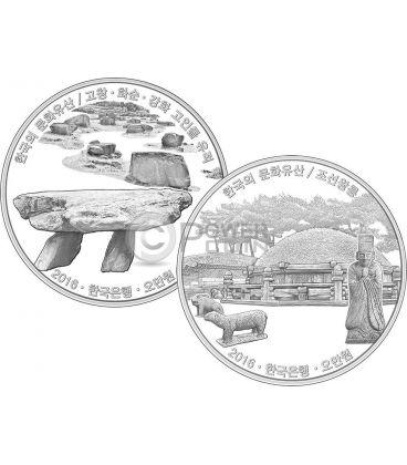 GOCHANG HWASUN AND GANGHWA DOLMEN SITES ROYAL TOMBS Korean Cultural Heritage Set 2 Silver Coins 50000 Won Korea 2016