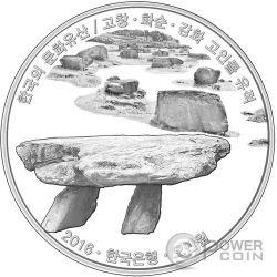 GOCHANG HWASUN AND GANGHWA DOLMEN SITES ROYAL TOMBS Korean Cultural Heritage Set 2 Monete Argento 50000 Won Corea 2016