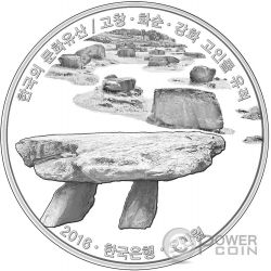 GOCHANG HWASUN AND GANGHWA DOLMEN SITES ROYAL TOMBS Korean Cultural Heritage Set 2 Silver Coins 50000 Won South Korea 2016
