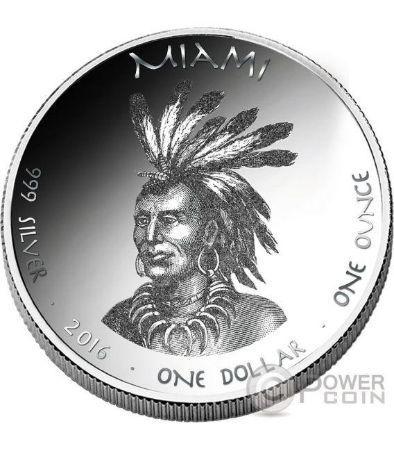 MINK Miami Indians Indiana Native State 1 Oz Silber Münze 1$ Jamul 2016