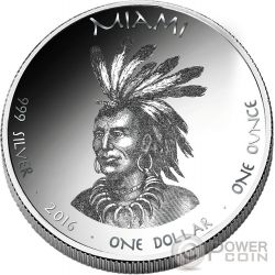 MINK Miami Indians Indiana Native State 1 Oz Silber Münze 1$ Jamul 2016