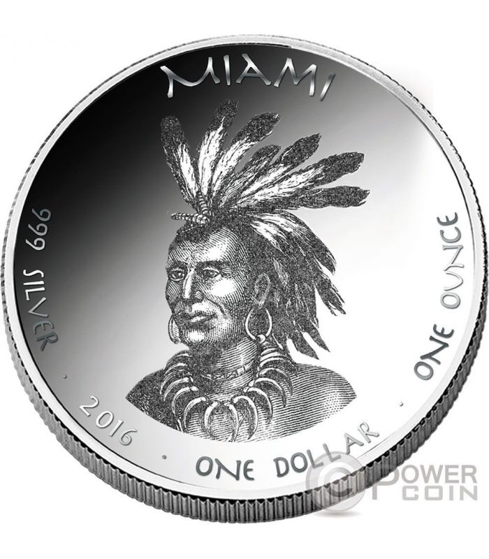 Mink Miami Indians Indiana Native State 1 Oz Silver Coin 1