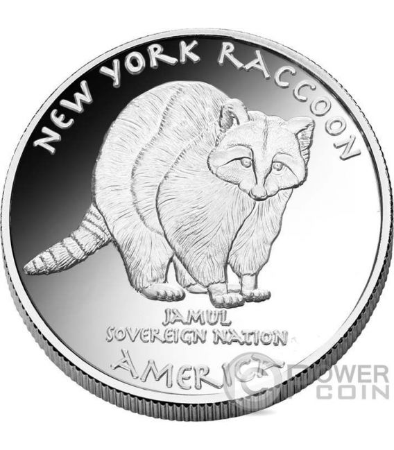 RACOON Mohawk New York Native State 1 Oz Silver Coin 1$ Jamul 2016