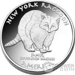 RACOON Mohawk New York Native State 1 Oz Moneda Plata 1$ Jamul 2016