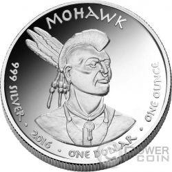 RACOON Mohawk New York Riserva Indiana 1 Oz Moneta Argento 1$ Jamul 2016