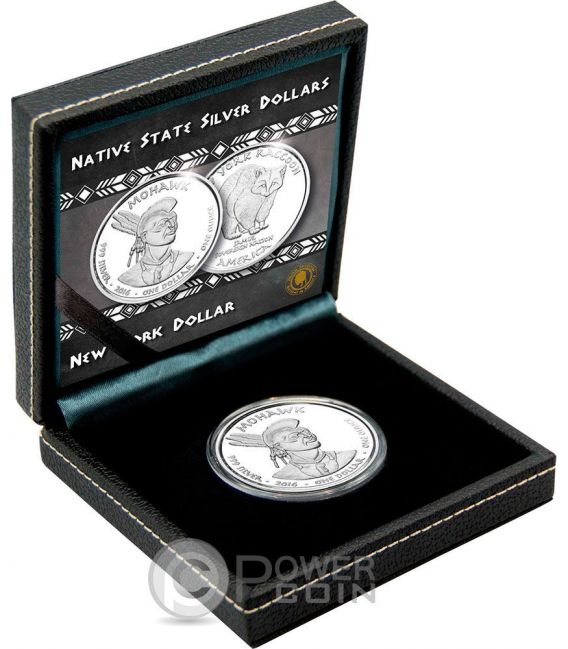 RACOON Mohawk New York Native State 1 Oz Серебро Монета 1$ Jamul 2016
