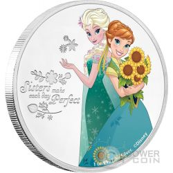 SISTERS Elsa And Anna Sorelle Disney Frozen 1 Oz Moneta Argento 2$ Niue 2016