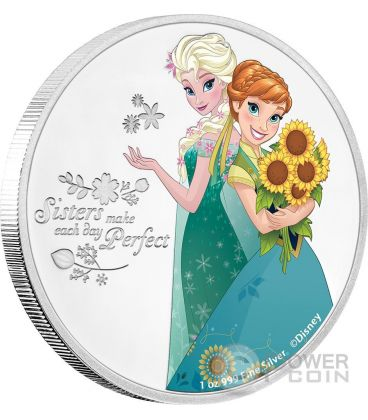 SISTERS Elsa And Anna Sorelle Disney Frozen 1 Oz Moneta Argento 2$ Niue 2016
