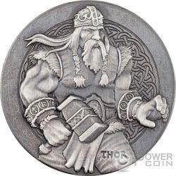 THOR The God Of Thunder Vikings Gods Kings Warriors 2 Oz Moneda Plata 2$ Niue 2016