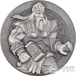 THOR The God Of Thunder Vikings Gods Kings Warriors 2 Oz Серебро Монета 2$ Ниуэ 2016