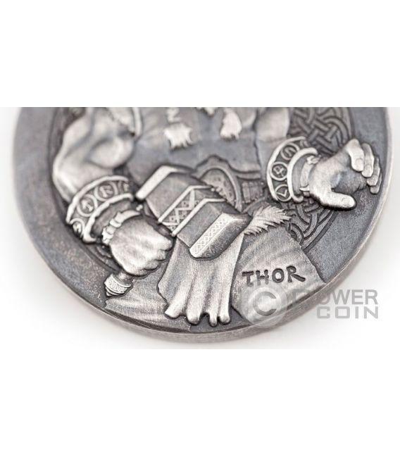THOR The God Of Thunder Vikings Gods Kings Warriors 2 Oz Silver Coin 2$ Niue 2016