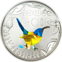 BLUE SUNBIRD Tropical Forest Silber Münze Prism 1000 Francs Togo 2010
