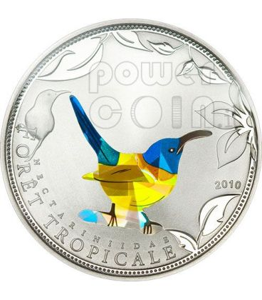 BLUE SUNBIRD Tropical Forest Silver Coin Prism 1000 Francs Togo 2010
