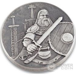 HARALD FAIRHAIR King Of Norway Vikings Gods Kings Warriors 2 Oz Silber Münze 2$ Niue 2016