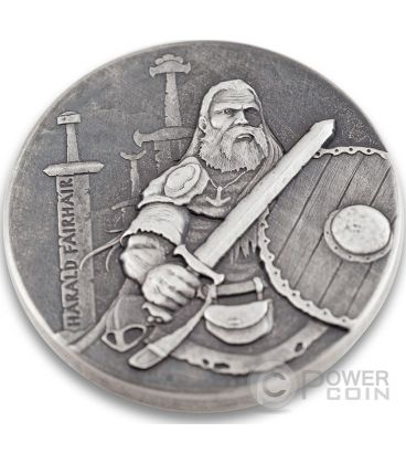 HARALD FAIRHAIR King Of Norway Vikings Gods Kings Warriors 2 Oz Silver Coin 2$ Niue 2016