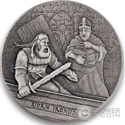BJORN IRONSIDE Vikings Gods Kings Warriors 2 Oz Moneda Plata 2$ Niue 2016