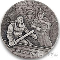 BJORN IRONSIDE Vikings Gods Kings Warriors 2 Oz Серебро Монета 2$ Ниуэ 2016