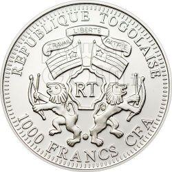 BLUE SUNBIRD Tropical Forest Серебро Монета Prism 1000 Франков Того 2010