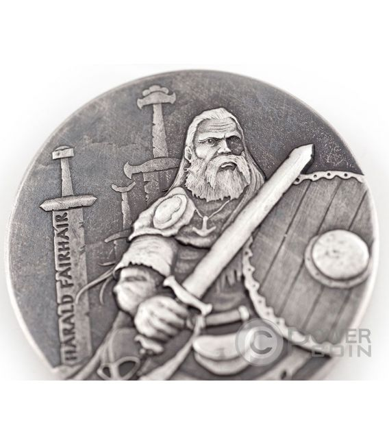 HARALD FAIRHAIR King Of Norway Vikings Gods Kings Warriors 2 Oz Silver Coin 2$ Niue 2016