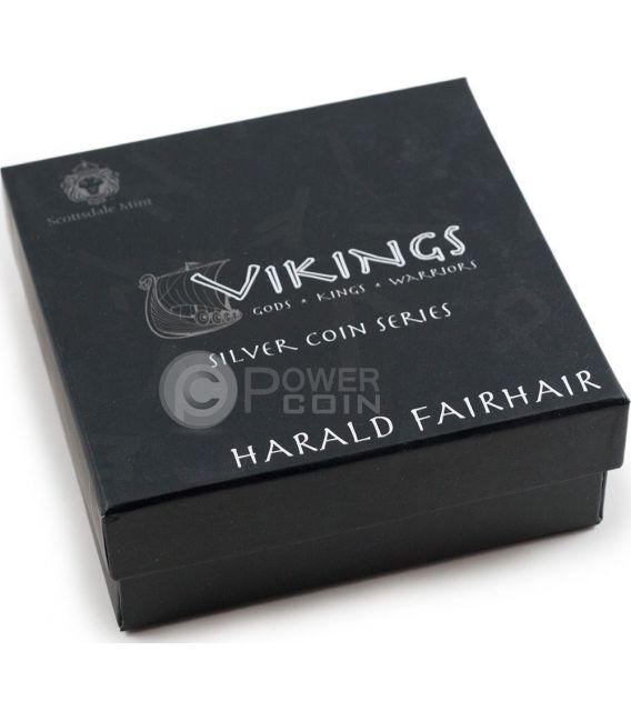 HARALD FAIRHAIR King Of Norway Vikings Gods Kings Warriors 2 Oz Moneda Plata 2$ Niue 2016